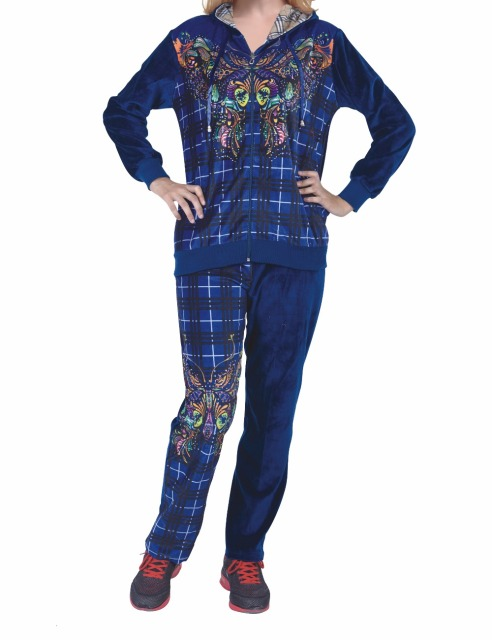 Fashion Women Clothing Velour Velvet CVC Pajamas set  plus size Lounge wear 3pcs HN-0643