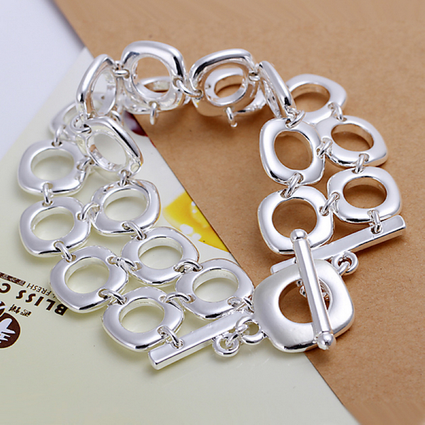 Fashion 925 Sterling Silver Bracelets Bangles For Women Men Double Square Bracelet Pulseira Masculina Feminina Jewelry H094 In Chain Link From
