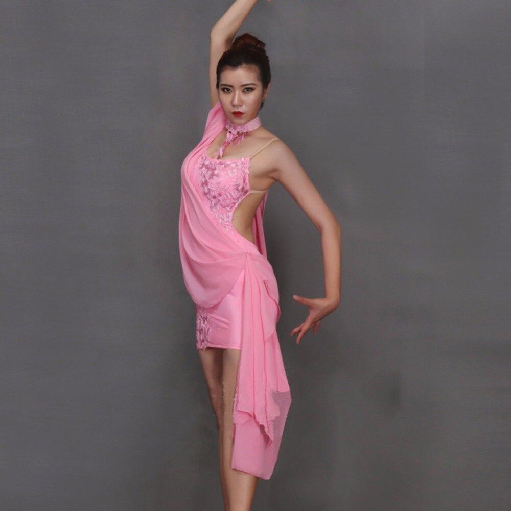 Confort vestidos de baile latino para las señoras Rosa Backless ...
