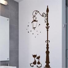 1PC Cartoon Black Cat Sticker Wall Stickers Home Decor for Bathroom Living Room Bedroom  Lovers Street Lights Wallpaper
