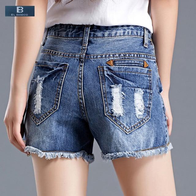 EL BARCO  2017 Nouveau Denim Coton Déchiré Trous D été Casual Shorts Femmes.  Passer la souris dessus pour zoomer c392882ced4