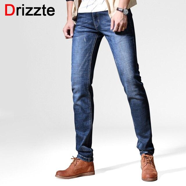 bastante agradable 79b2e c62b3 € 26.45 49% de DESCUENTO|Drizzte Brand otoño invierno nuevo estilo de moda  azul Original Slim Fit Jeans para hombres Casual lavado Denim Jeans hombres  ...