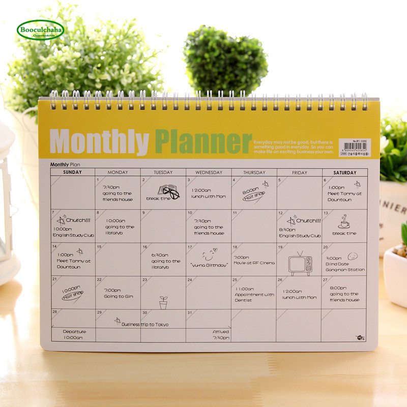 Office & School Supplies Korean Kawaii Stationery Memorandum Efficiency Manual Coil Spiral Monthly Planner Cute Schedule Book Notebook,24 Pages,21x28.5cm