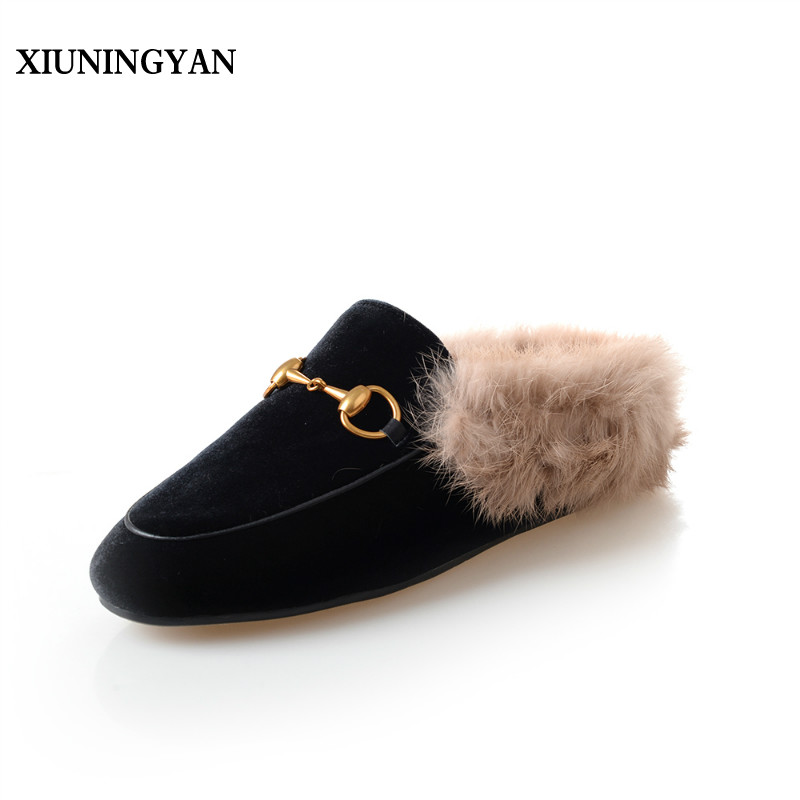XIUNINGYAN Brand Women Flats Genuine Leather Shoes Woman Rabbit Fur Warm Comfort Casual Shoes Woman Round Toe Autumn Warm Shoes