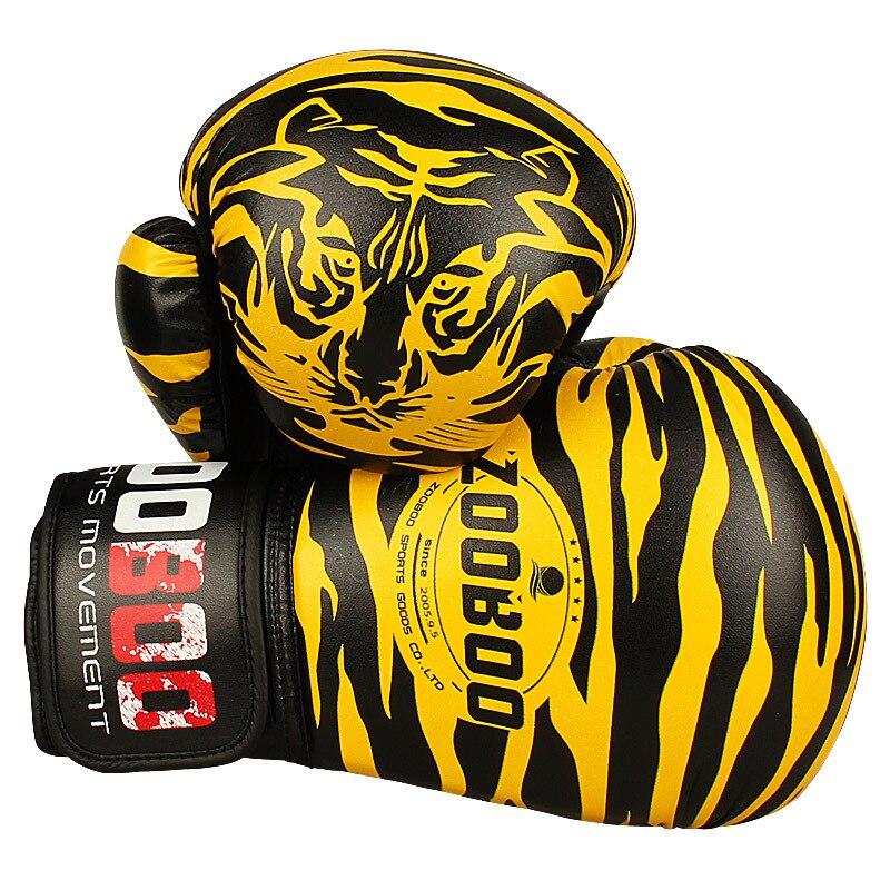 10OZ 12OZ Zooboo PU bőr tigris nyomtatás Box kesztyű MMA ikrek harcoló lyukasztó kesztyű Kick Muay thai edzőterem edzés Boxing