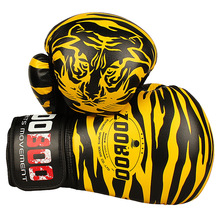 10OZ 12OZ Zooboo PU Leather Tiger Print Boxing Gloves MMA Twins Fighting Punching Gloves Kick Muay Thai Gym Training Boxing
