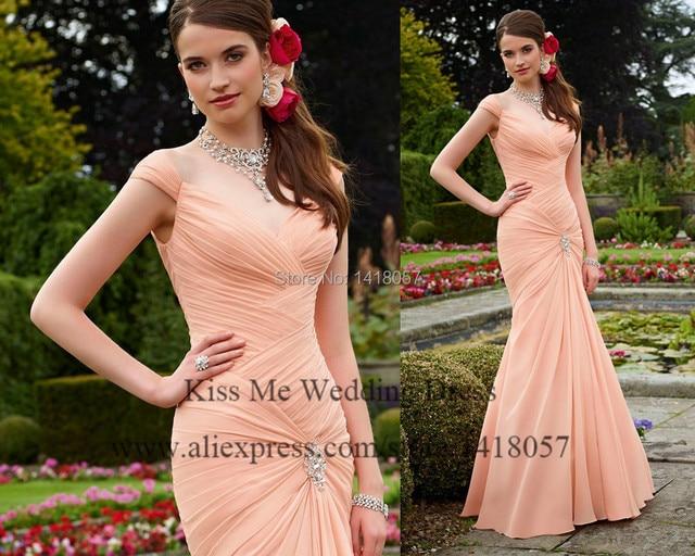 Elegant Peach C Bridesmaid Dresses Pleated Crystal Mermaid Wedding Guest Gowns Chiffon Long Floor Length Lb135
