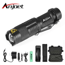 Anjoet Sets Tactics Flashlight Zoom CREE XML-L2 Led outdoor Torch 5 mode 8000 Lumens waterproof Use 18650 Rechargeable battery tp502 cree xml u2 1200 lumens 5 mode white light flashlight black