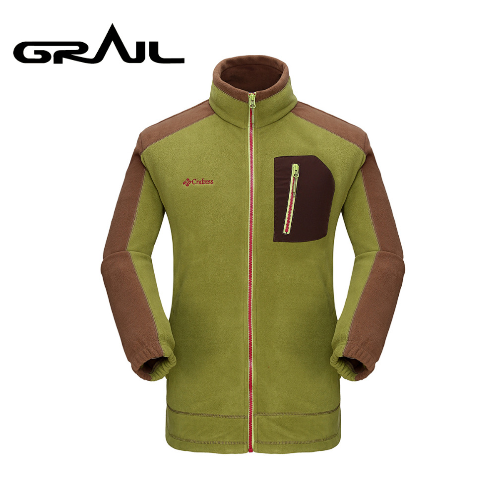 Фотография GRAIL Men Outdoor Thermal Polar Fleece Thick Jacket Double Sided Anti Pilling Coat for Outdoor Sports Camping Hiking KD3501