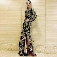 Seamyla 2019 высокое качество подиумное платье Женская Новая мода Цветочная вышивка винтажные Длинные платья зимние черные вечерние платья