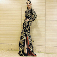 Seamyla 2019 High Quality Runway Dress Women New Fashion Floral Embroidery Vintage Long Dresses Winter Black Evening Party Dress
