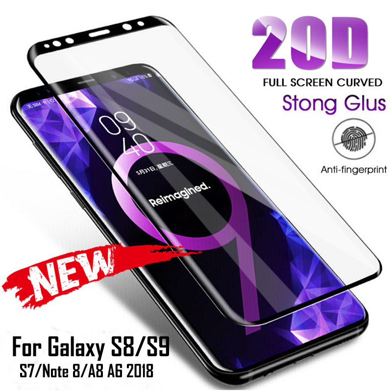 20D Full Curved Tempered Glass For Samsung Galaxy S8 S9 Plus Note 9 8 Screen Protector For Samsung A8 A6 S7 Edge Protection Film pochette étanche pour téléphone