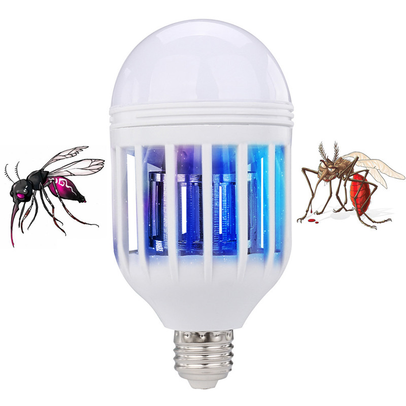 2018 Mosquito Killer Lamp New Fashion LED Anti-Mosquito Bulb 15W 1000LM 6500K Electronic Insect Fly Lure Kill Bulb E27 Lighting