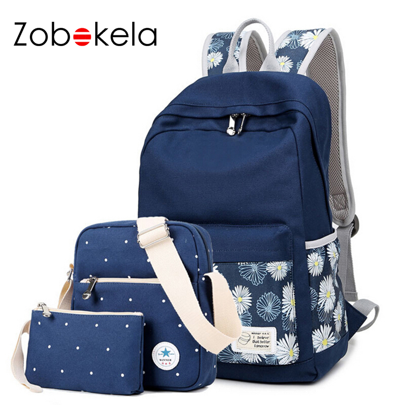 Zobokela 3pcs Printing Canvas Women Backpack Brand Travel Bags 14-inch Laptop Backpack For Teenages Girls School Bag Teenagers