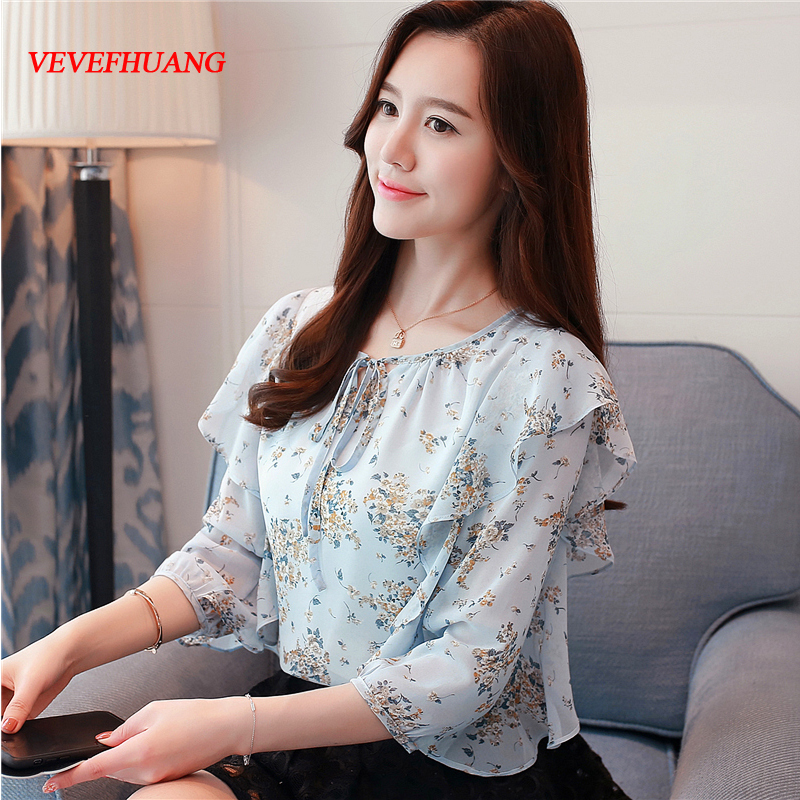 Blue Flowers Summer Top 2018 New Korean Fashion Women Flare Sleeve Floral Printing Chiffon Blouses Ruffles S-XXL Tops Shirts