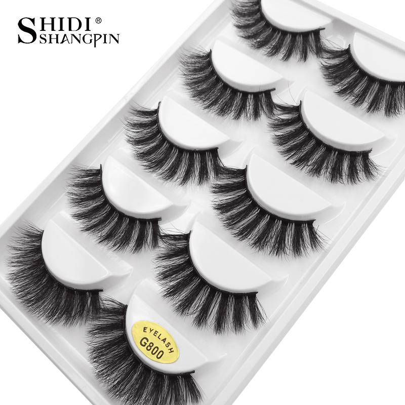 SHIDISHANGPIN 5 Pairs Mink Eyelashes Natural Long Makeup False Eyelashes 3d Mink Lashes 1cm-1.5cm Eyelash Extension Faux Lashes