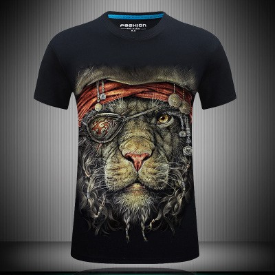 Big Size Cotton High Copy Male Realistic 3D Digital Print Leopard Mens Loose Short Sleeves T-shirt Tees Tops S~6XL