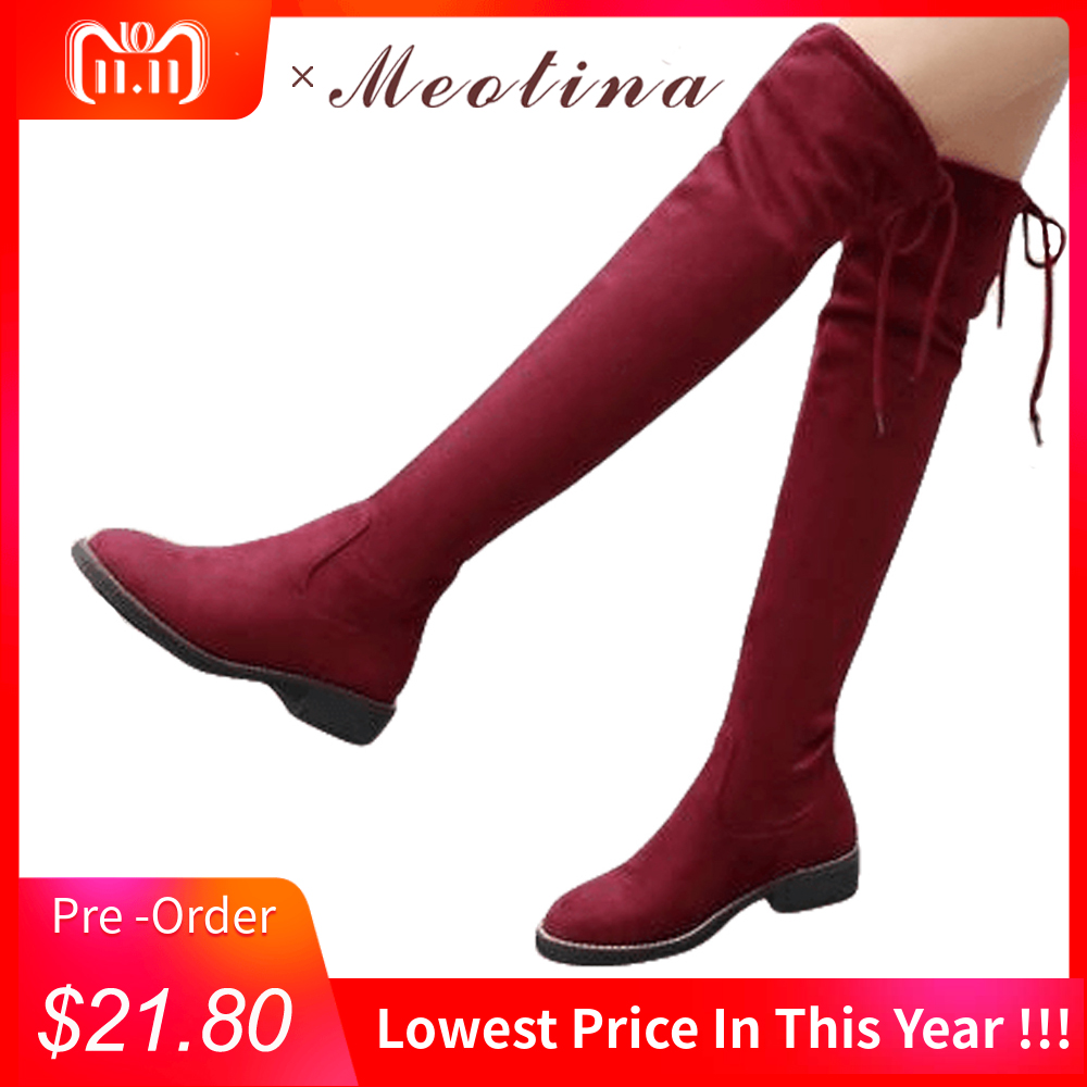 Meotina Thigh High Boots Women Low Heels Over the Knee Boots 2018 Stretch Fashion Boots Female Autumn Shoes Big Size 34-43 Black memunia big size 34 43 over the knee boots for women fashion shoes woman party pu platform boots zip high heels boots female