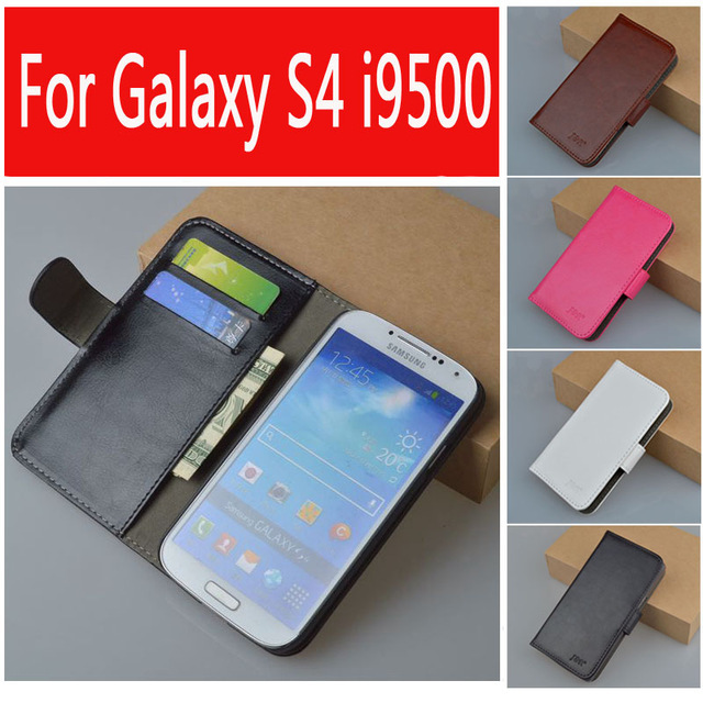 Leather case For Samsung Galaxy S4 i9500 GT-i9500 GT-i9505 i9505 i9506 flip cover case for GT i 9500 / i 9505 phone cases covers