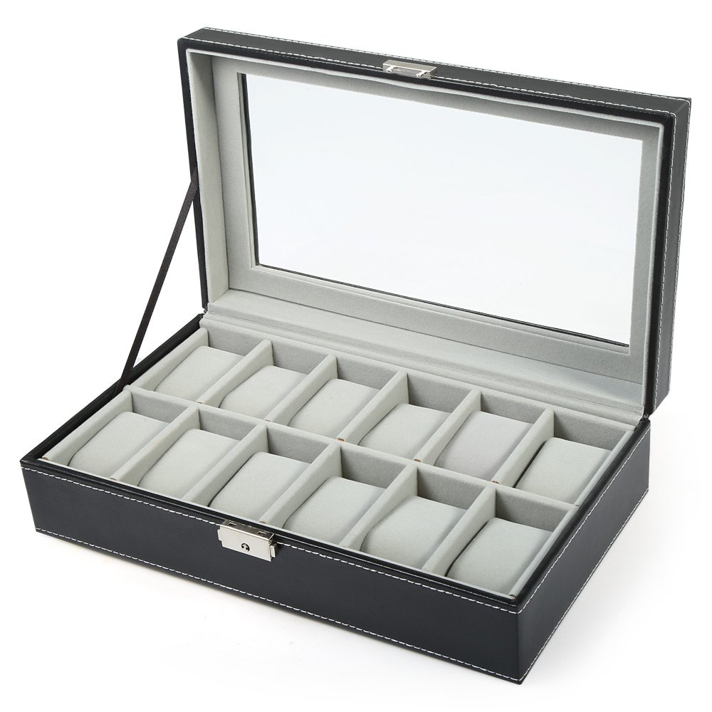 12 Grids Black Grey PVC Leather Watch Case Jewelry Display Box
