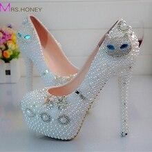 Wunderschönen Diamant Katze Strass Hochzeit Schuhe Nachtclub Party Tanzen High Heels prom Ereignis Schuhe plus Größe 43 44 45 weiße Perle