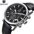 Benyar relógio marca os homens de negócios de luxo da marca à prova d' água dos homens do esporte do cronógrafo de quartzo relógio de pulso masculino relógio relogio masculino