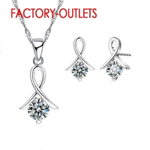 925 Sterling Silver Bridal Jewelry Sets Round Cubic Zirconia Necklaces Stud Earrings Women Girls Engagement Anniversary real 925 stud earrings 7mm round cubic zirconia jewelry wedding engagement jewellery elegant sterling silver earring for women