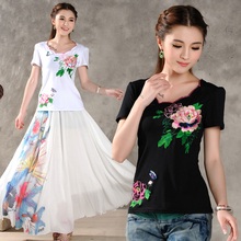 New Women's National Wind Embroidery Bubble Short-sleeved Cotton T-shirt Petal Collar Classic T-shirt