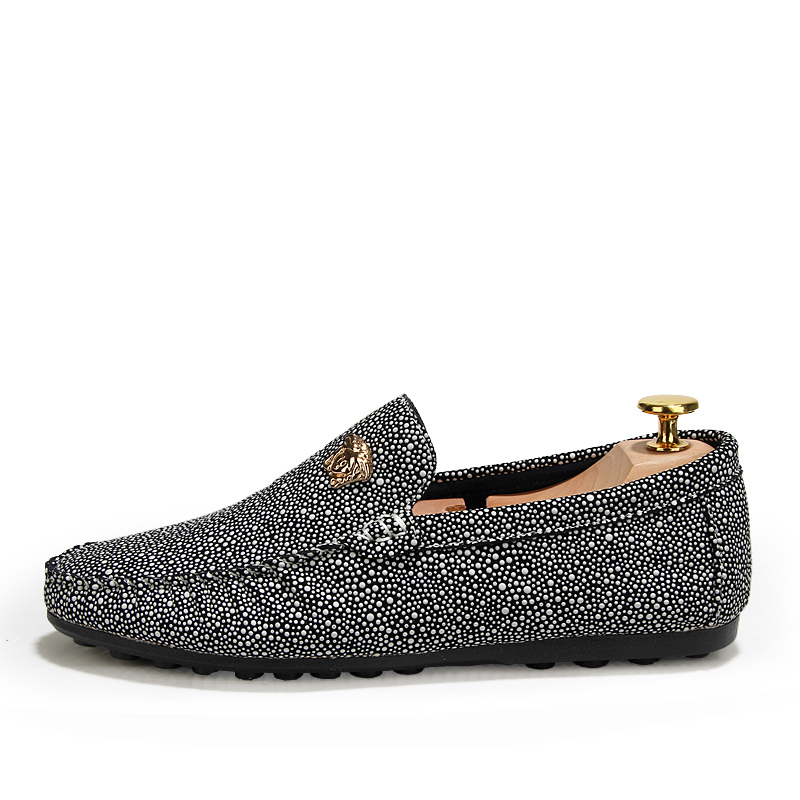 Sexy Boat Polka Dot Shiny Male Noble Vintage Business Velvet Elegant Metalic Horsebit Classic Formal Silver