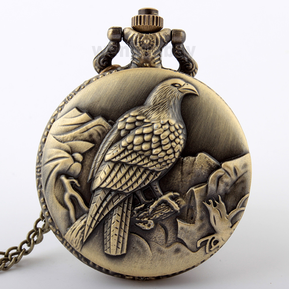 2015 Fashion 1PC Necklace Chain Pocket Watch King Bird W/Battery Bronze Tone 83cm