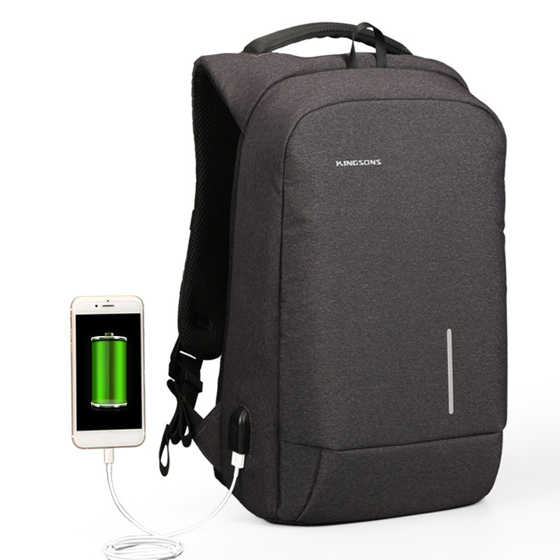 Kingsons Backpack Women Men 13''15'' USB Charging Anti Theft Backpacks For Teenager Girls Boys Mini Business Travel Bags Mochila men backpack student school bag for teenager boys large capacity trip backpacks laptop backpack for 15 inches mochila masculina