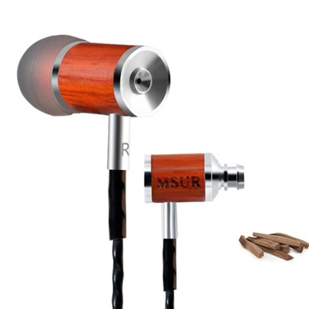 2016 New Original Brand MSUR C210 Earphone Wood Earphone Dynamic Drive Unit HiFi Bass Headset Earplug Headphone With Mic original senfer pt15 flat earburd earphone graphene dynamic driver unit hifi earplug with mmcx interface replaced line headsets