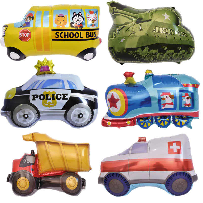 Cartoon Car Foil Balloons Train Truck School Bus Helium Balloons Children's Day Inflatable Gifts Birthday Party Decorations Kids