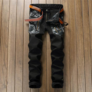 JOOBOX 2018 design splicing black straight men s jeans 9620b5e422