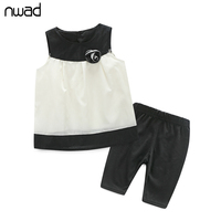 2017 Summer Newborn Girl Clothes Set Floral Sleeveless Clothing Set For Baby Girl Black And White Sailor Style Outfits FF074
