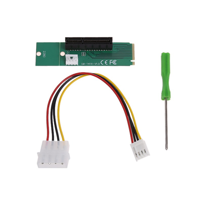 M.2 NGFF SSD to PCI-e Express 4X Converter Adapter Card with Small 4Pin Turn Big 4Pin Power Cord Support 2260/2280 Type