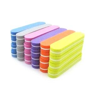 Image 5 - 100 sztuk gąbka Nails polerka pilniki profesjonalna marka pilnik do paznokci UV żel do paznokci narzędzie kolorowe papier ścierny wapno Ongle Para zestaw do manikiuru