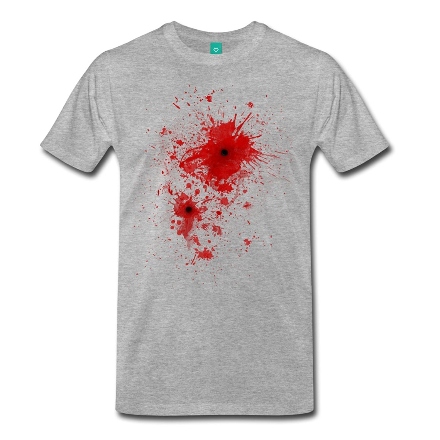 Personalized T Shirts Design Blood Stain Splatter Bullet Wound Crew Neck Short-Sleeve Mens T Shirts