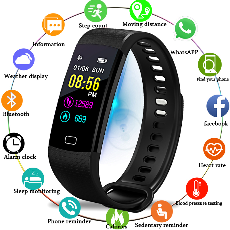 WISHDOIT New Smart Watch Men Wristwatch Sport Fitness tracker Pedometer Heart Rate Blood Pressure Monitor LED
