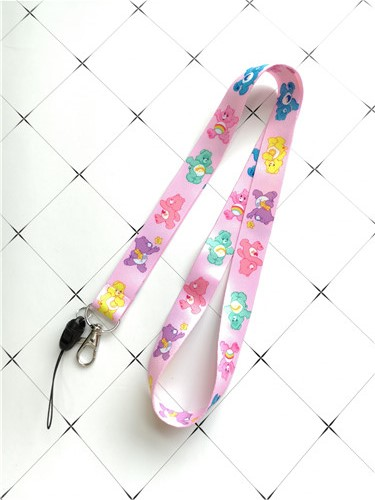 New 1pcs Cute Care Bears Color Cartoon DIY Key Lanyard Badge ID Cards Holders Neck Straps With Keyring Gifts Party Favors