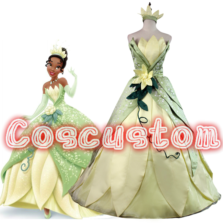 Coscustom High Quality The Princess and the Frog Princess Tiana Dress Adult Princess Tiana Costume Halloween Cosplay Costume