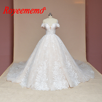 2019 new luxury lace wedding dress Royal train ball gown heavy beading wedding gown custom made factory directly bridal dress