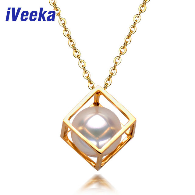 iVeeka Pendants Necklaces 100% Natural 8~8.5mm Freshwater Round Pearls in the Magic Box Concise Design 2016 New Gift Gold Silver