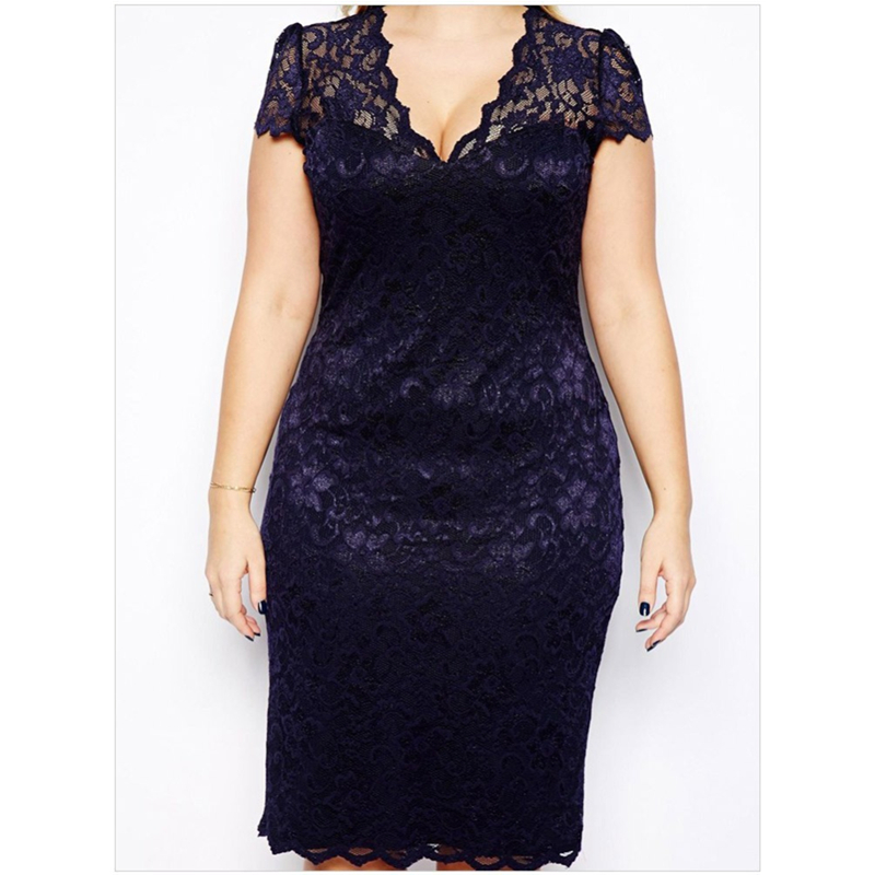 HANZANGL Summer Dress Women Elegant Sexy Navy Blue V Neck Short Sleeve Lace  Dress Ladies Casual Party Dress Plus Size M 4XL-in Dresses from Women s  Clothing ... e95e3be4d52f