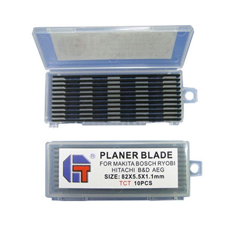 цена на 10Pcs Reversible Carbide Planer blades 82mm x 5.5mm For Cutting Soft Hard Woods Woodworking Power Tool