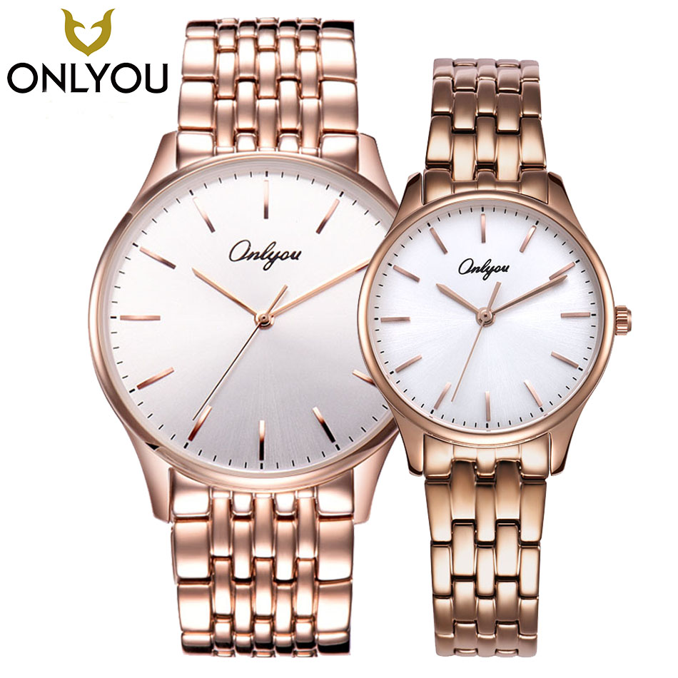 ONLYOU Classic Women Watches Couple Lover Wristwatch Gift Rose Gold Stainless Steel Band Minimalist Quartz Hour Clock Hot Sale south korea creative concept fashion personality women men couple watches new trend minimalist gift watches