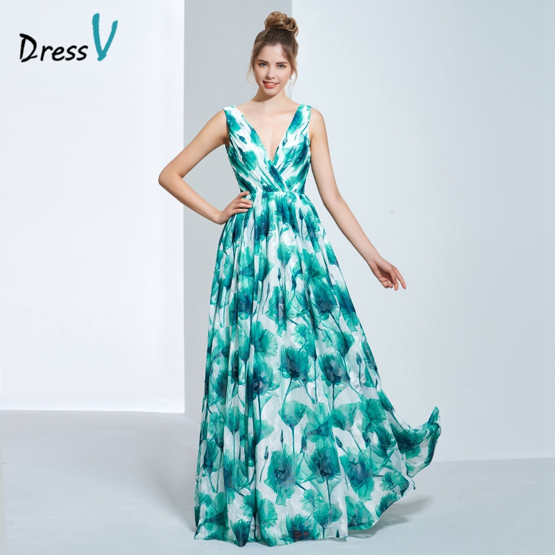 DressV sexy V-neck printing long evening dress multi color A-line pleats zipper up printed prom dress formal party evening dress