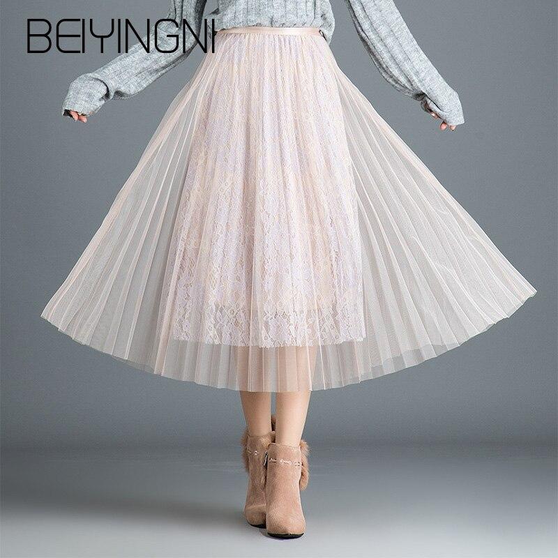 842e5410ef9 Beiyingni сетки плиссированные кружева миди юбка женская одноцветное Цвет  Черный абрикос серый Корейская юбка Высокая Талия