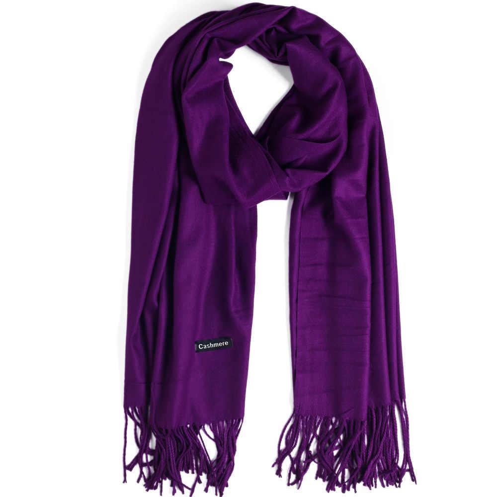 0719e1867 Fashion Cashmere Scarf Shawl Solid Autumn Winter Wrap Warm High Quality Soft  Hijab Thick Lady Women