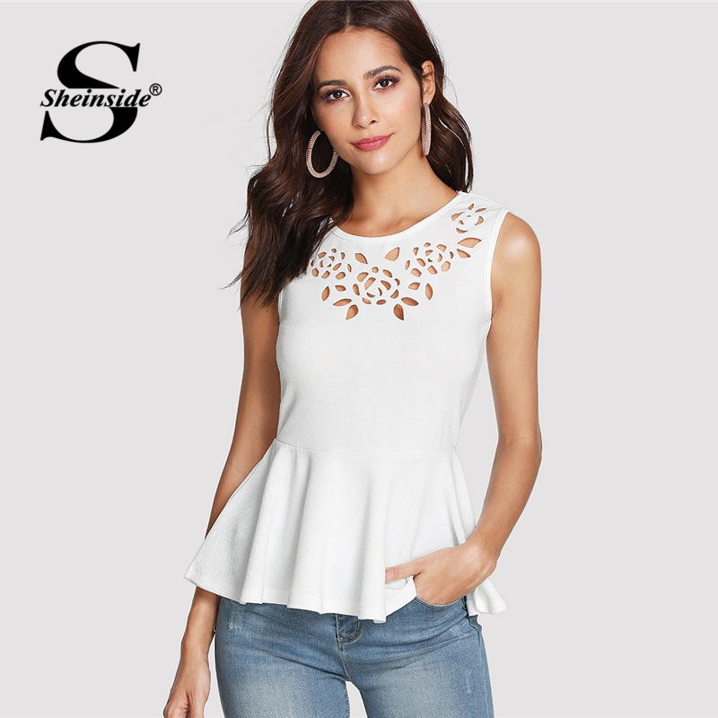 Sheinside White Hollow Out Sleeveless Peplum Top 2018 Summer Round Neck Ruffle Blouse Women Plain Slim Fit Elegant Blouse